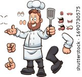 cartoon chef with different... | Shutterstock .eps vector #1690730575