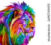 Colorful Lion Head On Pop Art...