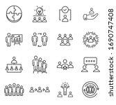 teamwork vector lines icon set. ... | Shutterstock .eps vector #1690747408