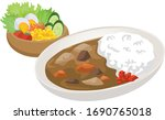 curry and salad image... | Shutterstock .eps vector #1690765018