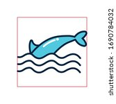 dolphin tail fill style icon... | Shutterstock .eps vector #1690784032