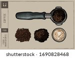 coffee beans  cup  filter... | Shutterstock .eps vector #1690828468