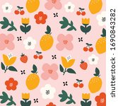 beautiful floral pattern vector ... | Shutterstock .eps vector #1690843282
