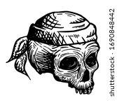 hand drawn skull of a dead man... | Shutterstock .eps vector #1690848442