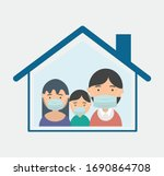family stay at home concept | Shutterstock .eps vector #1690864708
