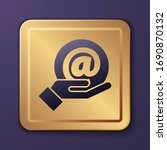 purple mail and e mail in hand...   Shutterstock .eps vector #1690870132