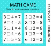 math game. write   or   in... | Shutterstock .eps vector #1690937938