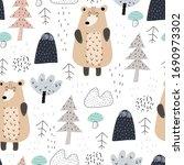 seamless pattern with cartoon... | Shutterstock .eps vector #1690973302