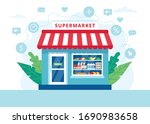 grocery store concept ... | Shutterstock .eps vector #1690983658