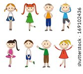 small and smile boys and girls... | Shutterstock .eps vector #169102436