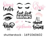 Brows And Lashes Set. Lettering ...