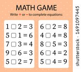 math game. write   or   in... | Shutterstock .eps vector #1691097445