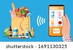 hand holding smartphone with...   Shutterstock .eps vector #1691130325