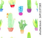 watercolor cacti and succulents ... | Shutterstock . vector #1691137285