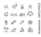 covid 19 and protect icons set  ... | Shutterstock .eps vector #1691174512