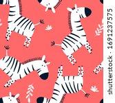 vector sketch zebra seamless... | Shutterstock .eps vector #1691237575