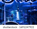 Drum Set Hit By Blue Light
