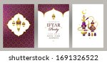 vector cards set iftar party... | Shutterstock .eps vector #1691326522