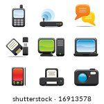 electronic computer icon set...   Shutterstock .eps vector #16913578