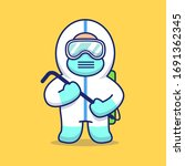 cute disinfectant man vector... | Shutterstock .eps vector #1691362345