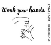 water tap with  hands  the...   Shutterstock .eps vector #1691419825