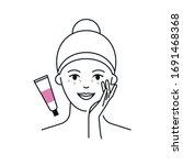 eye cream applying vector icon   Shutterstock .eps vector #1691468368