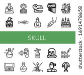 skull icon set. collection of...   Shutterstock .eps vector #1691478658