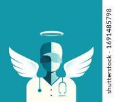 front line fighters   doctor as ... | Shutterstock .eps vector #1691485798