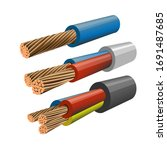 set of electrical copper core... | Shutterstock .eps vector #1691487685