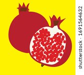 pomegranate on a yellow... | Shutterstock .eps vector #1691564632