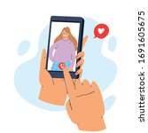 hands holding mobile phone with ... | Shutterstock .eps vector #1691605675