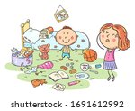 mother is shocked by the mess... | Shutterstock .eps vector #1691612992