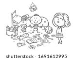 mother is shocked by the mess...   Shutterstock .eps vector #1691612995