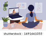 stay home concept. girl... | Shutterstock .eps vector #1691661055