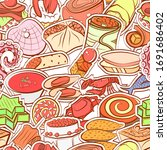 seafood and snacks pattern.... | Shutterstock .eps vector #1691686402
