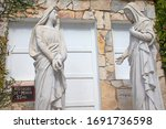 Small photo of Brusque, State of Santa Catarina / Brazil - March 2020: Statues in the Chaplet Hill of the Sanctuary of Our Lady of Azambuja depicting the virgin Mary visiting her cousin Saint Elizabeth