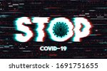 stop corona virus sign in a... | Shutterstock . vector #1691751655