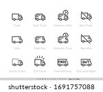 delivery truck icons set. fast...