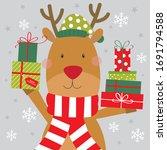 cute reindeer with christmas...   Shutterstock .eps vector #1691794588