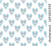 seamless pattern cute elephant...   Shutterstock .eps vector #1691831935