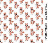 seamless pattern cute squirrel...   Shutterstock .eps vector #1691831962