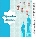 ramadan kareem greeting card...   Shutterstock .eps vector #1691925928