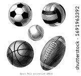sport ball collection hand draw ...   Shutterstock .eps vector #1691963392