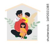 dad with children and a cat in... | Shutterstock .eps vector #1692021385