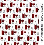 wine bottle with glass full of... | Shutterstock . vector #1692041362