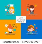 happy girls with different... | Shutterstock .eps vector #1692042292