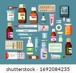 set of pills and suspensions in ... | Shutterstock . vector #1692084235