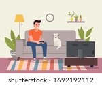 man playing videogame on the...   Shutterstock .eps vector #1692192112