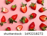 Strawberry On Pink Background ...