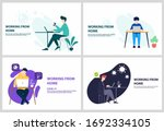 collection of stay home work... | Shutterstock .eps vector #1692334105